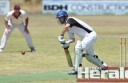 Colac's Aidan Spence clean bowled Irrewarra's Kane Quickensted, pictured, but the Redbacks had the last laugh, winning the match by 31 runs.