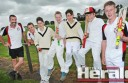 Birregurra has withdrawn its Division One cricket team on the eve of the upcoming season, but will have three teams in 2014-15 including an under-14 side. Club officials, left, Peter Hanlon and Luke Hutchinson, are pictured with junior Saints, from left, Harry Jarvis, Patrick Wheadon, Hugh Jarvis, Gabe Hanlon and Will Wheadon.
