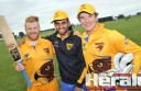 Warrion cricketer and Hawthorn-Monash University guest 12th man Jarryd Cranwell, former Australian junior Javed Khan and Warrion cricket export Locky Inglis celebrated Victorian Premier Cricket's return to the Colac district after a three-year absence on Saturday. Inglis's Hawks lost their clash against Prahran.