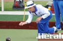 Cobden's Keith Simmonds rolls during his team's first win of the Corangamite bowls season. Cobden downed Central by 11 shots.