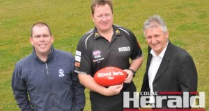 AFL Victoria and North Ballarat Rebels officials announced this week that the TAC Cup club's zone would expand to include all Warrnambool district and Hampden league clubs. Pictured, from left, are AFL Western District regional manager Lachy Patterson, North Ballarat talent manager Phil Partington, and AFL Victoria high performance manager Leon Harris.