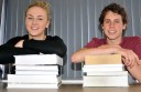 Colac Secondary College Year 12 Rahni Daffy and Trinity College's Luke Miraglia hit the books before exams start on October 29.