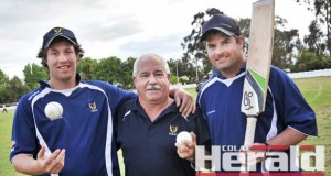 Colac District Cricket Association representative players Aidan Spence, left, and Dave Treweek, right, with selector Rob Oborne are ready to tackle the Warrnambool District Cricket Association on Sunday. Selectors made three late changes, with Liam McGuane, James Beasley and Josh Weatherhead called up to the squad for the clash.