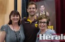Colac AFL footballer Luke Hodge supported a Colac Area Health Foundation Long Road Appeal event at the weekend which raised almost $20,000. Hodge is pictured with Rick's wife Raelene Burnett, left, and CAH Foundation's Karen Harvey.