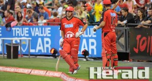 Former Colac cricketer Aaron Finch, left, will lead the Melbourne Renegades for a third season when the side starts its BBL4 campaign against the Sydney 6ers at the SCG tonight.