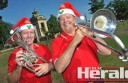 Colac City Band's Andrew Currie, left, and Phil Fischer are ready for next week's carols in Memorial Square.