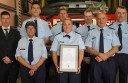 Apollo Bay fire brigade members received a CFA Unit Citation for Service Award for a cliff rescue. Pictured from back left are Gavin McMaster, William Chow, Scott Earl, Benjamin Whyte, David Howell, front left, Judy Mustafa, Leah Beamish and Colin Coleman