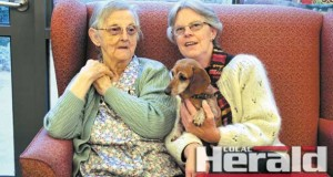 Forrest's Helen Speirs, right, with her mother Shirley Speirs and Siggy the dachshund. Helen cares for her mother who has dementia. She says  she would like people to have a better understanding of the disease, rather than staring at people living in the community with the condition.