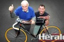 Colac's Darren Allan, right, restored a bike from the 1940s for his grandfather Harry Salmon's 90th birthday.