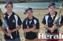 Colac district junior cricketers, Jacob McKenzie, of Apollo Bay, and City United's Dylan Slater and Jarrod Walters relax at Apollo Bay before representing the Barwon Rockets at under age state championship tournaments in January. The players are among eight CDCA cricketers who earned selection in the three sides.