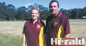 Forrest coach Michelle Stewart and netball co-ordinator Dale Menzies.