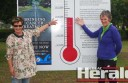 Colac Area Health Foundation's Karen Harvey, left, and cancer survivor Pam Payne are happy to see the foundation's Long Road Appeal  reach $100,000 this week to help bring cancer treatment to Colac.