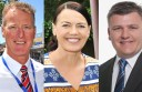 From left, Tony White, Libby Coker and Darren Cheeseman are seeking Labor preselection for the federal seat of Corangamite.