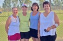 Three Polwarth district tennis teams won state titles at a week-long tournament at Swan Hill. Pictured, from left, are Polwarth's victorious C Grade players Wendy Morrow, Carol Maxwell, Cathy Maxwell and Helen Evans. Five Polwarth teams competed.