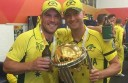 Colac's Aaron Finch and captain Michael Clarke with the trophy.