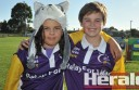 Britt Coulter, 11, Andrew Evans, 13, were among more than 200 participants who completed Colac Otway Relay for Life yesterday, helping raise $18,835 for the Cancer Council.