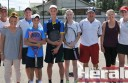 Colac Lawn beat Forrest to win the Polwarth District Tennis Association's A Grade grand final. Pictured, from left, are Lawn players Dean Garner, Sarah Mulgrew, Jim Ennor, Tom Ennor, Luke Garner, Cassandra Smith, Mark Robinson, Jill O'Dowd and Ruby O'Dowd.