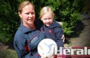 Former Otway Districts A Grade coach Kellie Edwards, pictured with daughter India, has returned to her post and hopes to fast-track the club's junior netballers this season.