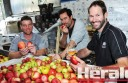 rom left, Otway Estate Winery and Brewery's Luke Reynolds, Luke Scott and Hamish Spalding work with Gellibrand apple grower Juli Farquhar to produce apple cider.