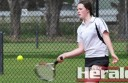 Colac Lawn's Ruby O'Dowd returns a shot against Beeac.