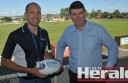 Colac district senior football coaches Russell Whiteford, left, and Steve O'Dowd have thrown their support behind a program which raises awareness about mental health for young people.