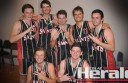 Saints ANZ won its third straight Colac basketball A Grade title this week. Pictured, clockwise from top left, are Josh Sutherland, Shaun Dell, Sam Barrow, Aaron Dell, Tom Grinton, Jack Barrow  and Jordan Foley.