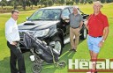 Golfers will converge on the Colac course for Colac Golf Club's annual Easter tournament this long weekend.  Club president Ed Morrissy, Colac Toyota's John Williams and Geoff Currington gear up for the event.