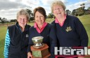 Colac golfers Jean Rooney, Rene Morris and Maureen Shelton won the annual Birregurra Golf Club Ladies Rose Bowl. The trophy was re-named to honour Birregurra life member Joyce Farquharson.