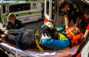 SORE: Paramedics transport Ryan De La Rue to hospital after he crashed preparing for the World Enduro Series in New Zealand. De La Rue faces three to four months in recovery, but hopes to be fit in time for national championships later this year.  PHOTO: Tim Bardsley-Smith