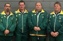 Colac indoor bowler Chris Price, second from left, won a gold medal with Australia's men's fours team in an international test match. He is pictured with teammates Tony Simpson, Darren Voss and Simon Zaporozec.