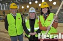 Colac Otway Shire mayor Frank Buchanan and chief executive Sue Wilkinson, centre, took Corangamite MP Sarah Henderson on a tour of the Bluewater Fitness Centre construction site this week.