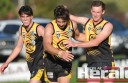Young Colac Tigers footballers Luke Hillman, left, and Steve Presani, centre, have joined premiership player and fellow young gun James Rowan in the club's senior  team this season.