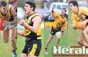 Colac Tigers footballers, from left, Ryan Monaghan, Jake McGuane, Kane Leersen and James Linton are in the Geelong Football League's initial interleague squad.
