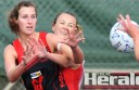 Former Irrewarra-Beeac netballer Casey Johnstone, pictured left with the Bombers in 2012, could play another game with Forrest later this season after helping the Lions to an upset win against Birregurra on Sunday.