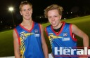 Colac Tigers junior footballers Cooper Stephens, left, and Campbell Tanis had successful interleague campaigns for a Geelong representative side against Bendigo juniors on Sunday.
