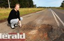 Simpson's Tracy Thwaites is among a group of residents who are calling for action to repair the Timboon-Colac Road.