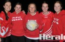 Alvie netballer Cindy Throckmorton, centre, says the club's exciting crop of youngsters, including Mercedez Hickey, Sara Morrissy, Georgia Robinson and Dallas Williamson, have kept her passion for netball alive.