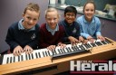 St Mary's Primary School pupils Benjamin Brish, Jessica Smith, Aanlin Benoy and Thea Callahan will perform a song called Basketball Bounce at the Colac Music Teachers Association eisteddfod tomorrow.