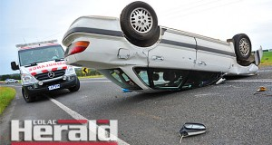 A Swan Marsh teenager's car rolled on Colac-Forrest Road, outside of Colac, on Wednesday morning. He had treatment for arm and spinal injuries at Geelong.