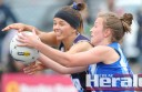 Colac Imperials and South Colac netballers have endured tight tussles since 2013. The Cats have beaten the Roos seven times from nine matches, including two grand finals, but South knocked its cross-town rival off the top of the ladder on Sunday. Imps' Stacey Whiteford and Roo Janelle Monaghan are pictured in battle.