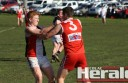Tempers flared during Alvie's upset win against finals-bound Birregurra at Alvie Recreation Reserve. Saints young gun Zak Day, left, is pictured in a tussle with Alvie's Aidan Spence.