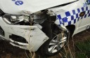Police are looking for information after a stolen four-wheel drive rammed a police car near Camperdown.