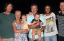 Lorne Football Club life member and premiership coach Mark Trickey, centre, died this week. He is pictured with his beloved family, from left, son Shane, wife Julianne, grandchildren Indiana and Jax, and sons Boe and Simon. Boe said his father was a 'welcoming and humble bloke'.