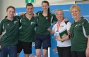 Colac Swimming Club members, from left, Josh Hansen, Mark Sendecky and Joanne Towers will contest state championships after record results at a country meet. They are pictured with club official Dianne Towers and coach Deborah Legg.