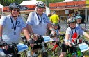 Brent Hateley, his father Ron, and Brent's three children, back, Kane, 7, front, Ethan, 9, and Lucy, 10, completed 50 kilometres of the Around The Bay In A Day bike ride in Melbourne last weekend.