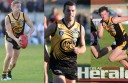 Colac Tigers footballers, from left, Kaden Newton, Josh Black and James Rowan, have become the latest players to part ways with the club this month.