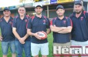 New Otway Districts coach Tom Mullane-Grant, centre, met with club officials late last week. He is pictured with reserves coaches Corey Ferarri, left, and Jason Kordupel, right, president Tony Robertson and former coach Steve Daniels.