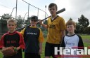 Junior baseball is set to return to Colac next year, with officials chasing up to 50 aspiring players for a new four-team competition. Colac youngsters, from left, Saxon Cooper, 10, Kyle Morrissy, 10, Jack Barber, 12, and Henry Barber, 8, are gearing up for Colac Baseball Club's come-and-try event tonight. See page 23 for the full story.