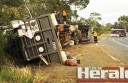 A truck driver escaped injury after his cattle truck rolled west of Colac on the Princes Highway yesterday morning, causing a road closure on the highway for six-and-a-half hours.