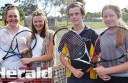 Colac district junior tennis players, from left, Claudia McLaren, Jorja Parker and Riley Thompson and Briana Thompson are competing against senior teams in Polwarth District Tennis Association's B Grade competition to help their development.